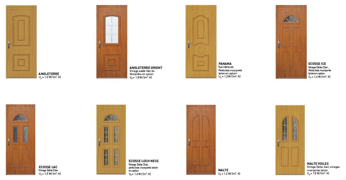 portes d'entree pvc classiques plaxé bois sybaie