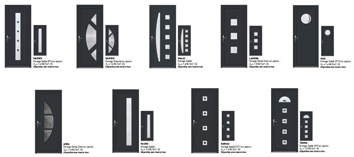 portes d'entree pvc grises contemporaines sybaie