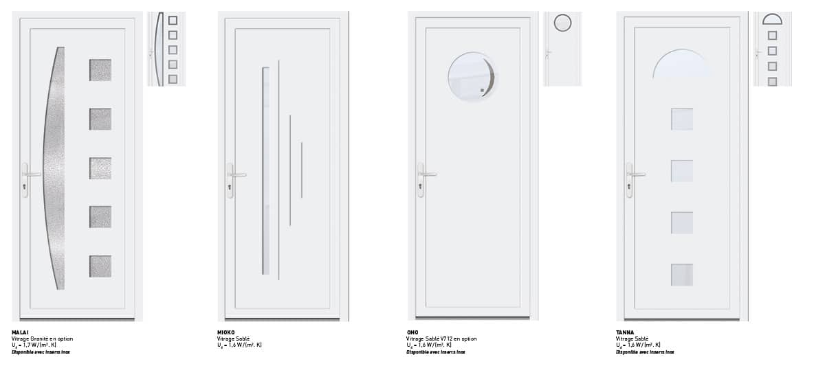 portes d'entree pvc blanche contemporaines sybaie