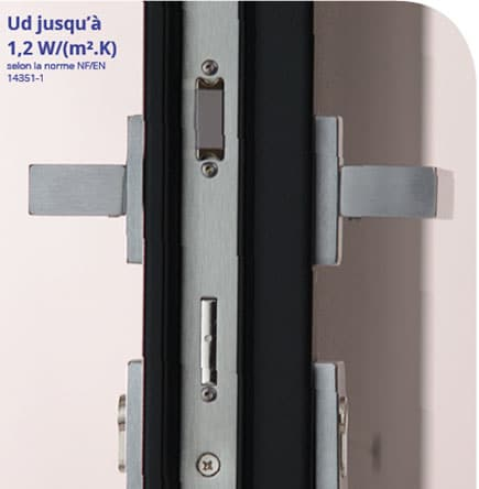 barillet porte aluminium vu de profil