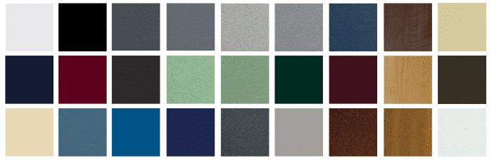 Nuancier de couleurs - Gamme Aluminium